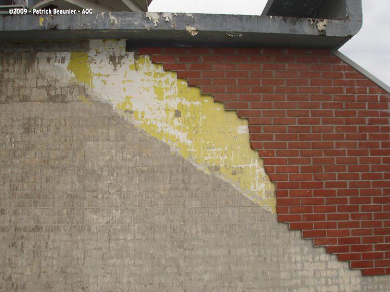 Décollement des plaquettes de terre cuite d'un mur