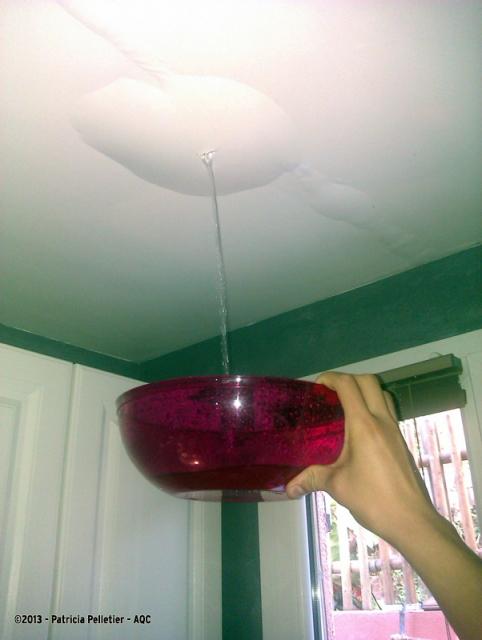 Fuite d'eau en plafond