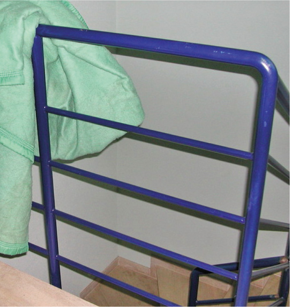 Garde-corps sur palier d'escalier faisant un effet d'échelle de par la disposition de barreaux horizontaux