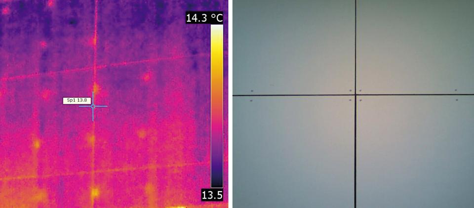 Photo infrarouge de ponts thermiques ponctuels générés par des fixations d'isolation mécaniques