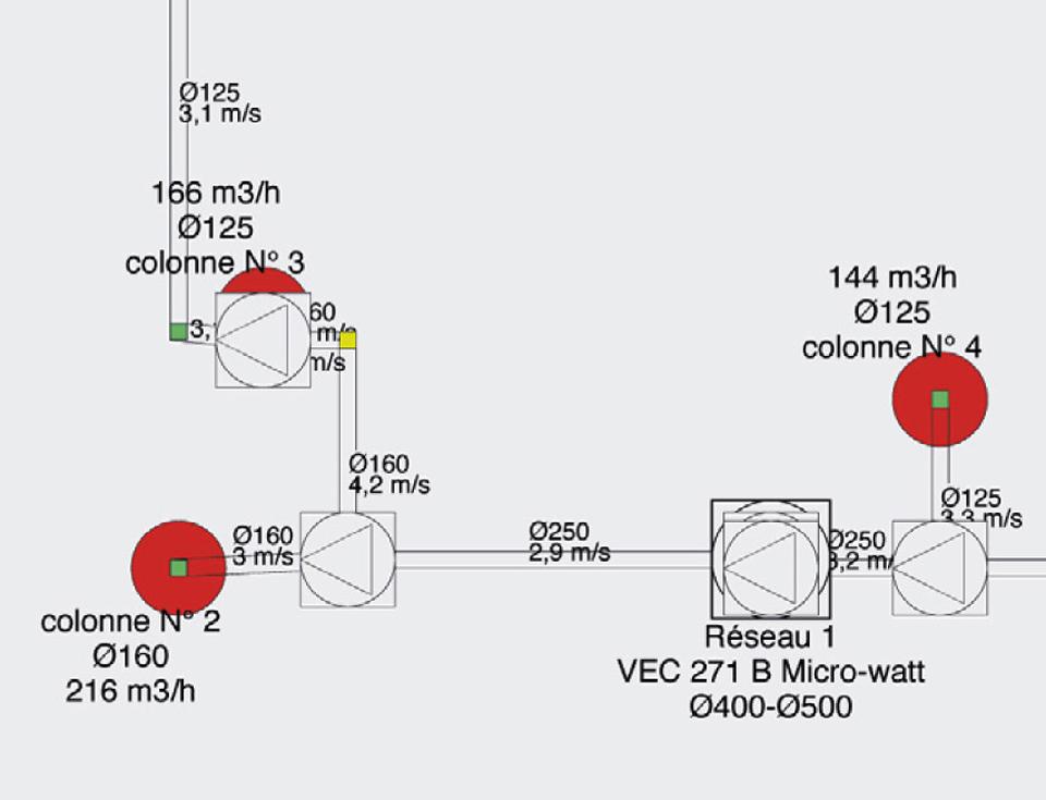Schéma d'un plan d'exécution où figurent les caractéristiques des équipements VMC