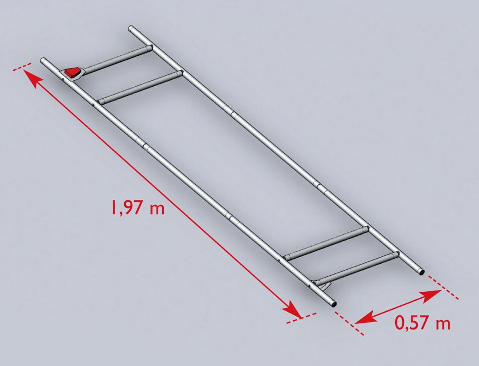 Gabarit d'un brancard défini par la norme NF EN 1865, soit 1,97 m x 0,57 m