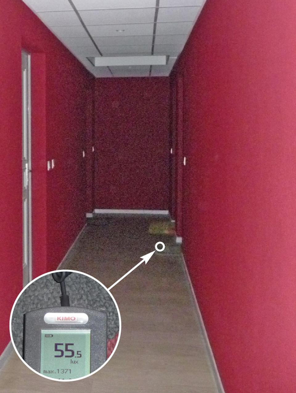 Couloir intérieur d'un bâtiment avec éclairage insuffisant à l'horizontale (55,5 au lieu de 100 lux) au niveau du paillasson d'une porte palière.