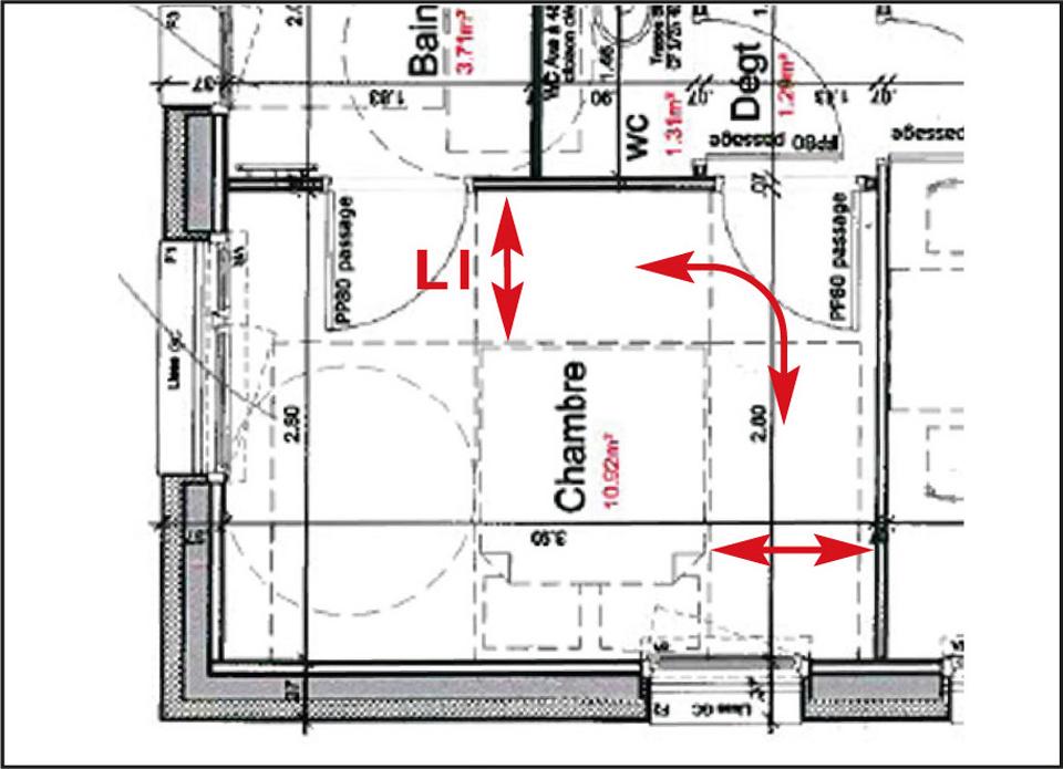 Exemple d'un plan de chambre où l'espacement autour du lit ne permet pas la circulation d'un fauteuil roulant