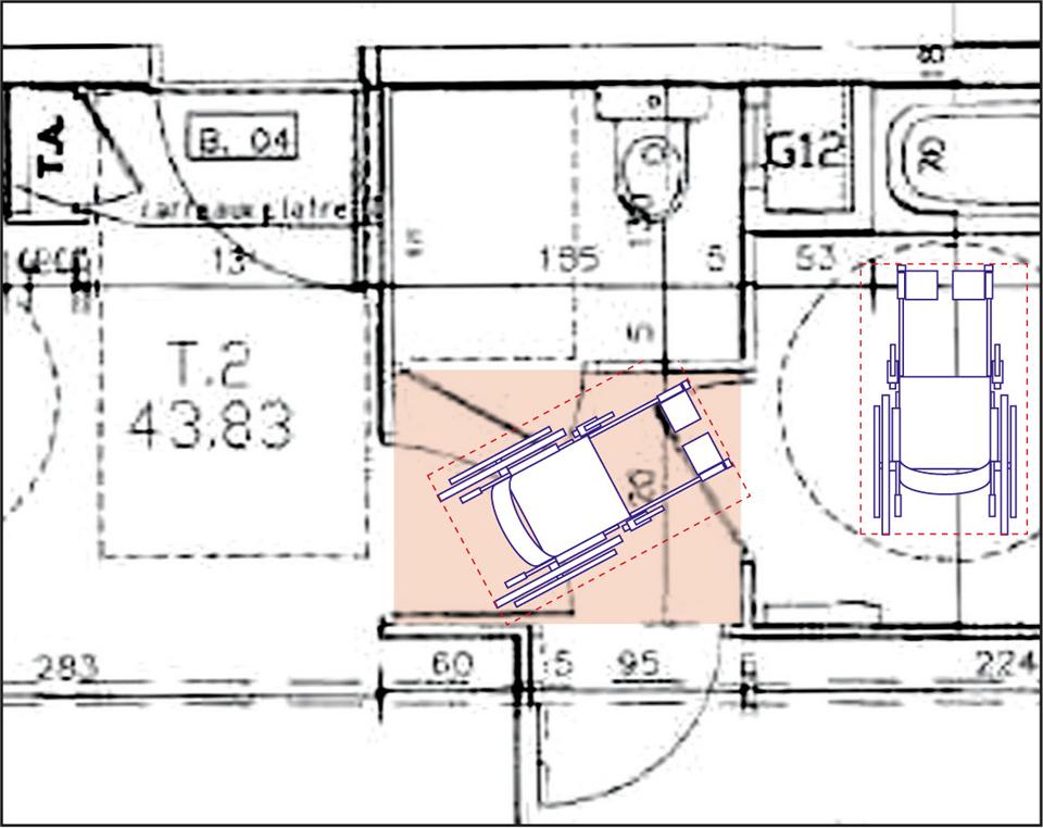 Simulation graphique démontrant les manoeuvres impossibles du fauteuil roulant pour pénétrer dans le WC du logement.