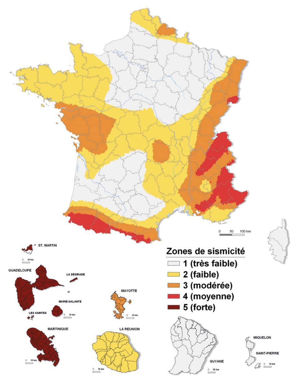 Carte des zones de sismicité de France métropolitaine et des Outre-mers