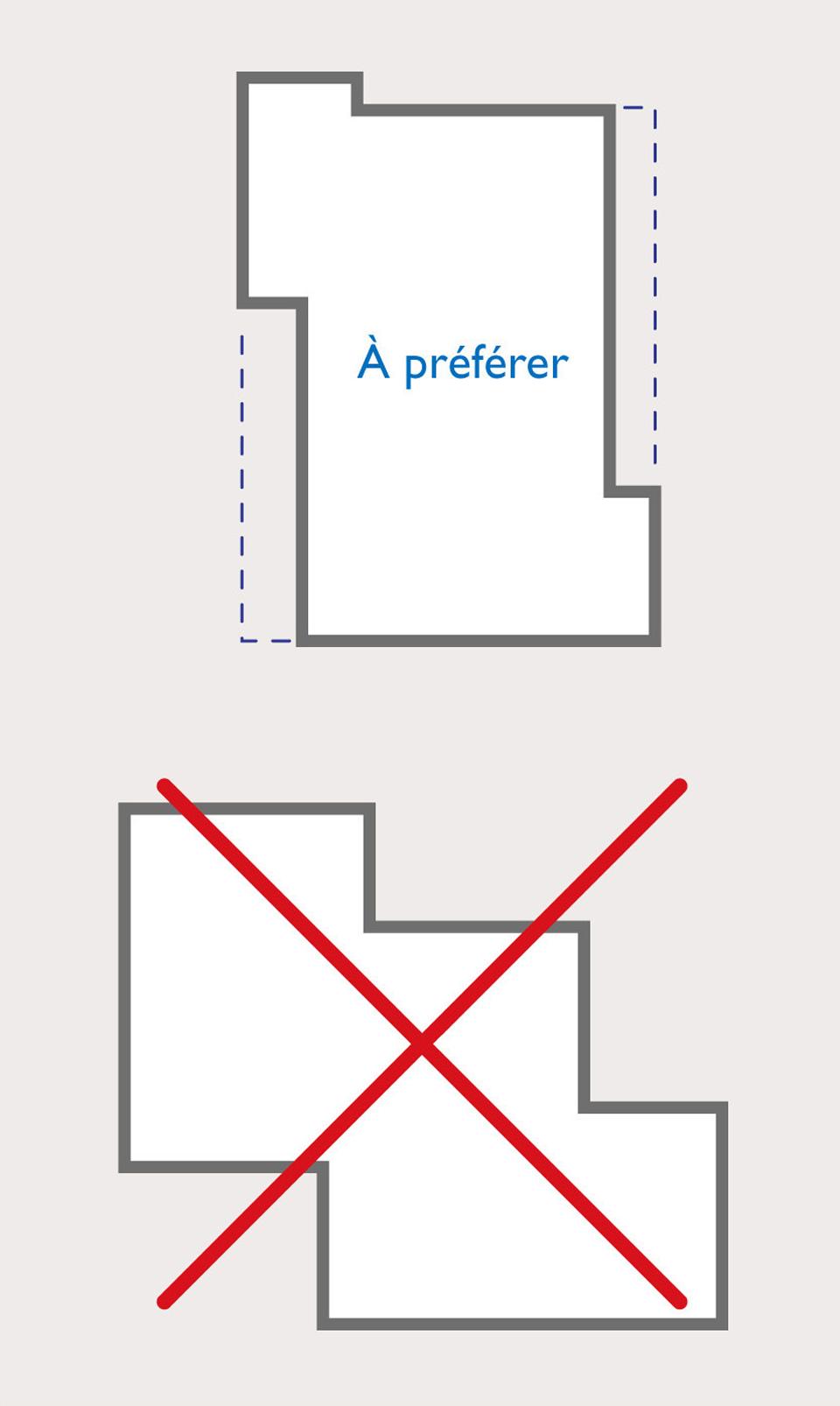 Schéma d'un plan régulier à préférer par rapport à un plan avec des décrochements pour la construction d'un bâtiment en zone de sismicité
