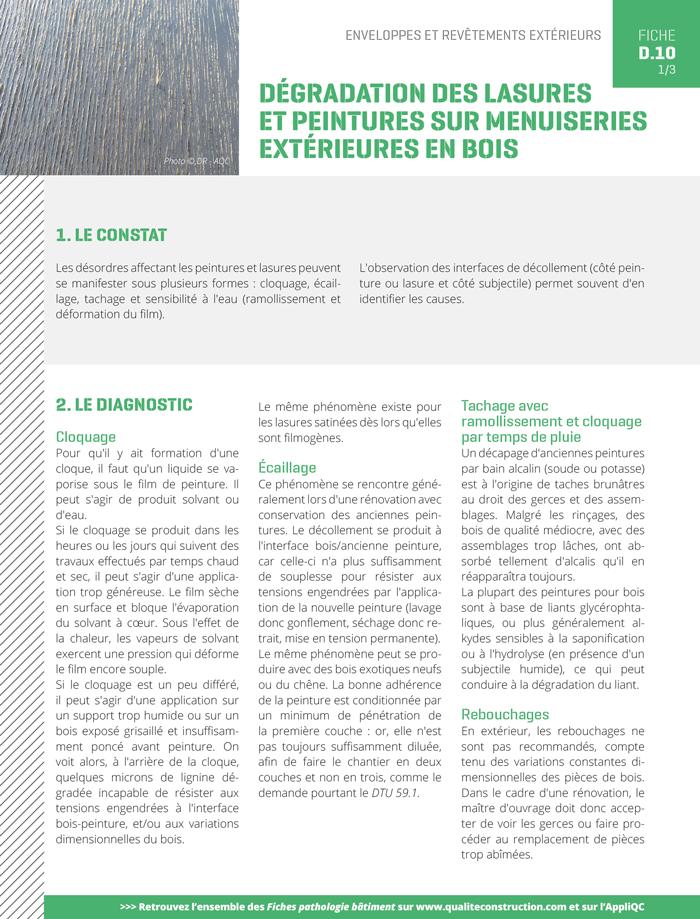 Degradation Des Lasures Et Peintures Sur Menuiseries Exterieures En Bois Agence Qualite Construction