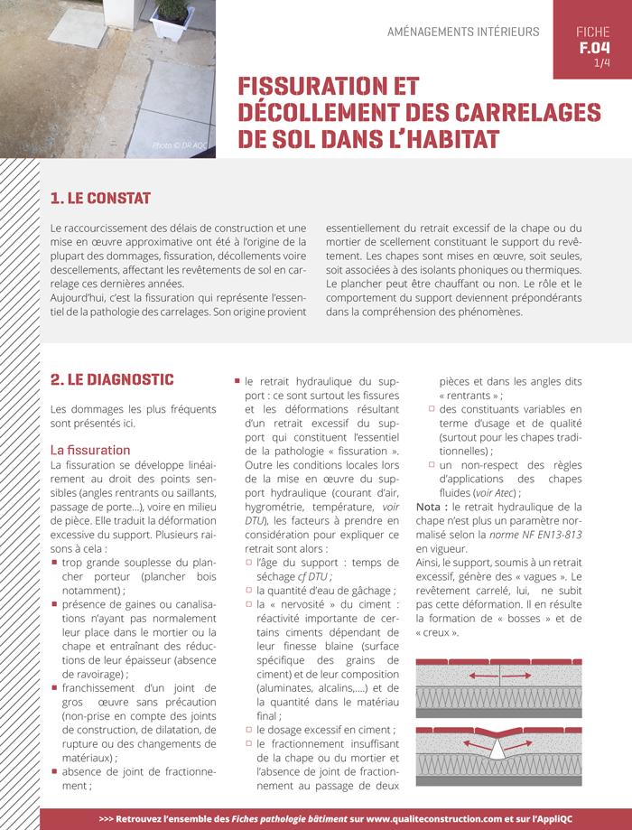 Fissuration Et Decollement Des Carrelages De Sol Dans L Habitat Agence Qualite Construction